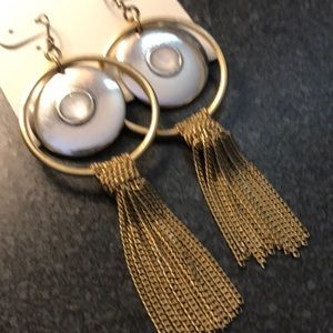 NWT Lucky Brand fringe statement drop earrings